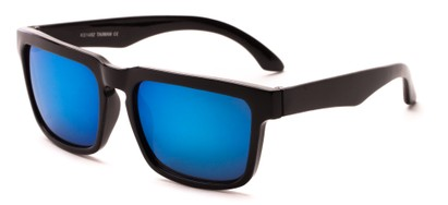 Angle of Subzero #1673 in Glossy Black Frame with Blue Mirrored Lenses, Women's and Men's Aviator Sunglasses