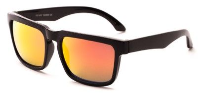 Angle of Subzero #1673 in Glossy Black Frame with Red Mirrored Lenses, Women's and Men's Aviator Sunglasses