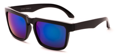 Angle of Subzero #1673 in Glossy Black Frame with Purple Mirrored Lenses, Women's and Men's Aviator Sunglasses