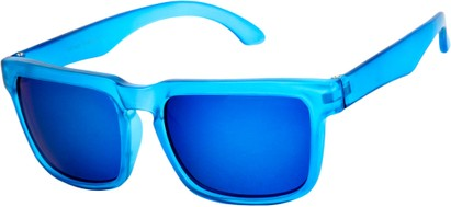 Angle of Subzero #1673 in Blue Frame with Blue Mirrored Lenses, Women's and Men's Aviator Sunglasses