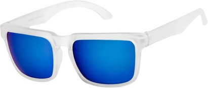 Angle of Subzero #1673 in Clear Frame with Blue Mirrored Lenses, Women's and Men's Aviator Sunglasses