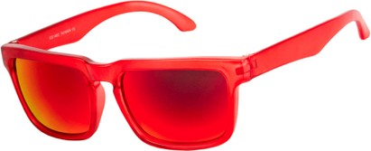 Angle of Subzero #1673 in Red Frame with Red Mirrored Lenses, Women's and Men's Aviator Sunglasses