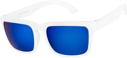 Angle of Subzero #1673 in White Frame with Blue Mirrored Lenses, Women's and Men's Aviator Sunglasses