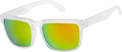 Angle of Subzero #1673 in Clear Frame with Yellow Mirrored Lenses, Women's and Men's Aviator Sunglasses