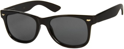 Angle of SW Retro Style #1688 in Black Frame with Smoke Lenses, Women's and Men's