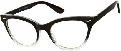 Angle of SW Clear Cat Eye Style #9155 in Black/Clear Fade Frame, Women's and Men's