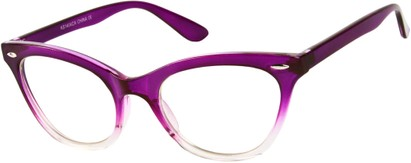 Angle of SW Clear Cat Eye Style #9155 in Purple/Clear Fade Frame, Women's and Men's