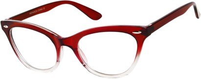 Angle of SW Clear Cat Eye Style #9155 in Red/Clear Fade Frame, Women's and Men's