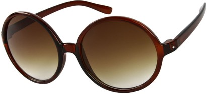 Angle of Jetty #8885 in Brown Frame, Women's Round Sunglasses
