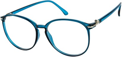 Angle of SW Clear Round Style #9212 in Blue Frame, Women's and Men's