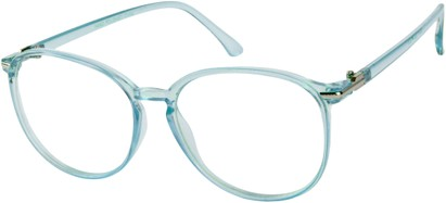 Angle of SW Clear Round Style #9212 in Light Blue Frame, Women's and Men's