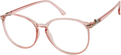 Angle of SW Clear Round Style #9212 in Light Pink Frame, Women's and Men's