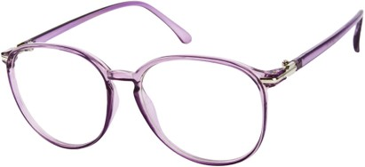 Angle of SW Clear Round Style #9212 in Purple Frame, Women's and Men's
