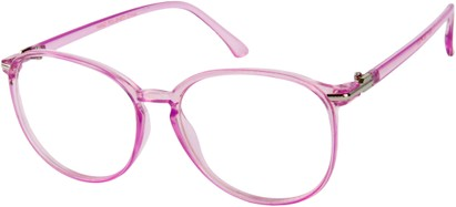 Angle of SW Clear Round Style #9212 in Light Purple Frame, Women's and Men's
