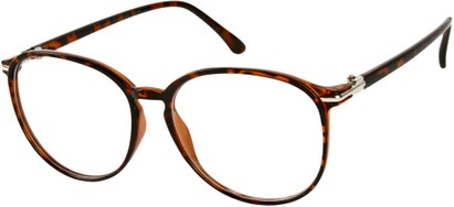 Angle of SW Clear Round Style #9212 in Brown Tortoise Frame, Women's and Men's