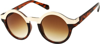 Angle of SW Retro Style #9277 in Brown Tortoise/Gold Frame, Women's and Men's