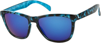 Angle of SW Mirrored Retro Style #8960 in Blue Tortoise Frame with Blue Mirrored Lenses, Women's and Men's