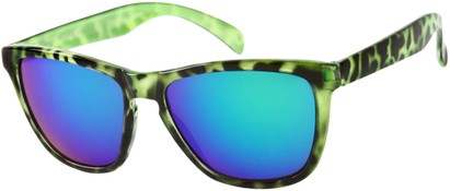 Angle of SW Mirrored Retro Style #8960 in Green Tortoise Frame with Green Mirrored Lenses, Women's and Men's