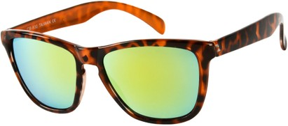 Angle of SW Mirrored Retro Style #8960 in Orange Tortoise Frame with Yellow Mirrored Lenses, Women's and Men's