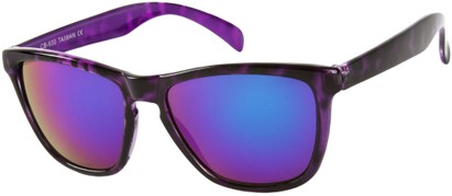 Angle of SW Mirrored Retro Style #8960 in Purple Tortoise Frame with Purple Mirrored Lenses, Women's and Men's