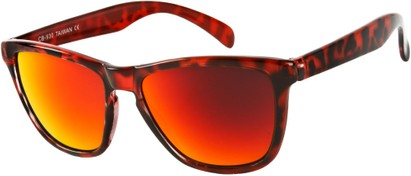 Angle of SW Mirrored Retro Style #8960 in Red Tortoise Frame with Red Mirrored Lenses, Women's and Men's