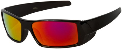 Angle of SW Kid's Sport Style #1434 in Black Frame with Red Mirrored Lenses, Women's and Men's