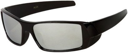 Angle of SW Kid's Sport Style #1434 in Black Frame with Silver Mirrored Lenses, Women's and Men's