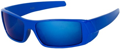 Angle of SW Kid's Sport Style #1434 in Blue Frame with Blue Mirrored Lenses, Women's and Men's