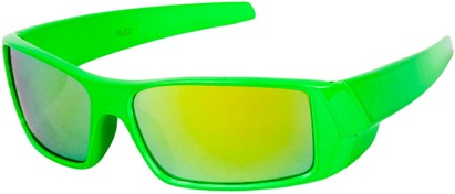 Angle of SW Kid's Sport Style #1434 in Green Frame with Yellow Mirrored Lenses, Women's and Men's