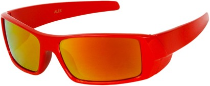 Angle of SW Kid's Sport Style #1434 in Red Frame with Yellow Mirrored Lenses, Women's and Men's