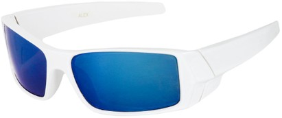 Angle of SW Kid's Sport Style #1434 in White Frame with Blue Mirrored Lenses, Women's and Men's