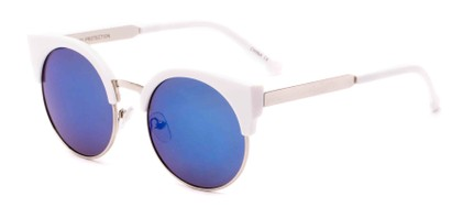 Angle of Ivy #6608 in White/Silver Frame with Blue Mirrored Lenses, Women's Cat Eye Sunglasses