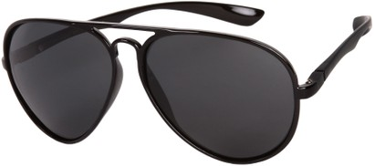 Angle of SW Polarized Aviator Style #1422 in Glossy Black Frame, Women's and Men's