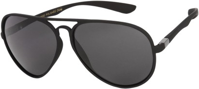 Angle of SW Polarized Aviator Style #1422 in Matte Black Frame, Women's and Men's