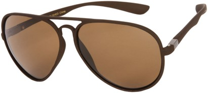 Angle of SW Polarized Aviator Style #1422 in Matte Brown Frame, Women's and Men's