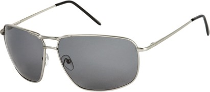 Angle of Shane #9870 in Matte Silver Frame with Smoke Lenses, Women's and Men's