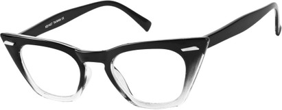 Angle of SW Clear Cat Eye Style #8881 in Black/Clear Fade Frame, Women's and Men's