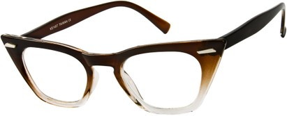 Angle of SW Clear Cat Eye Style #8881 in Brown/Clear Fade Frame, Women's and Men's