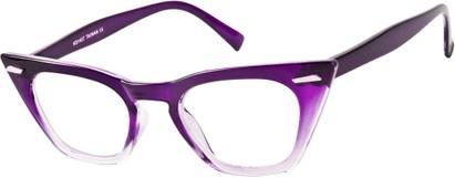 Angle of SW Clear Cat Eye Style #8881 in Purple/Clear Fade Frame, Women's and Men's