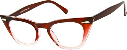 Angle of SW Clear Cat Eye Style #8881 in Red/Clear Fade Frame, Women's and Men's