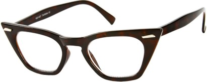 Angle of SW Clear Cat Eye Style #8881 in Brown Tortoise Frame, Women's and Men's