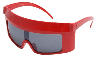 Angle of SW Funky Shield Style #10898 in Red Frame, Women's and Men's