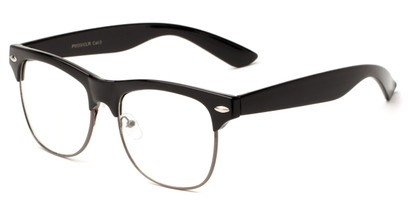 Angle of Harmon #9201 in Black/Grey Frame with Clear lenses, Women's and Men's Browline Fake Glasses