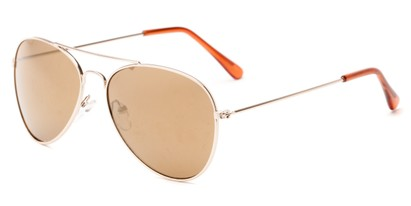 Angle of Havana #1932 in Gold Frame with Gold Mirrored Lenses, Women's and Men's Aviator Sunglasses