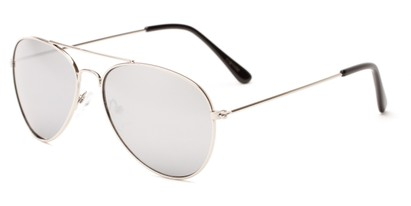 Angle of Havana #1932 in Silver Frame with Silver Mirrored Lenses, Women's and Men's Aviator Sunglasses