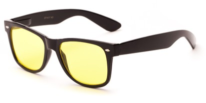 Angle of Horizon #2274 in Black Frame with Yellow Lenses, Women's and Men's Retro Square Sunglasses