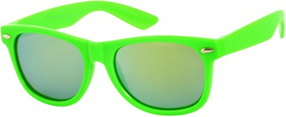 Angle of SW Mirrored Retro Style #8927 in Lime Green, Women's and Men's