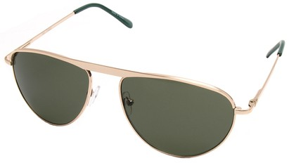Angle of SW Celebrity Style #2420 in Gold Frame with Green Lenses, Women's and Men's