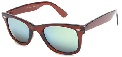 Angle of SW Mirrored Retro Style #8780 in Brown Frame, Women's and Men's