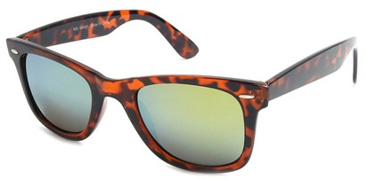 Angle of SW Mirrored Retro Style #8780 in Brown Tortoise Frame, Women's and Men's